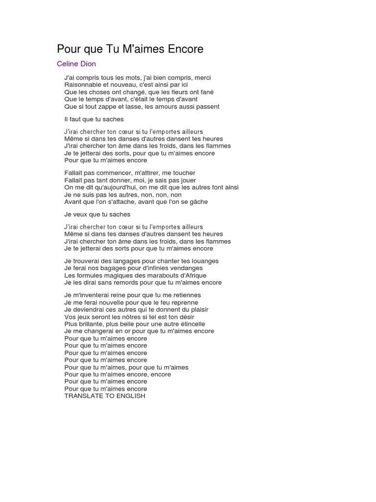 ~Céline Dion~...~Pour Que Tu M'aime Encore~!! - ~~PaRoLe