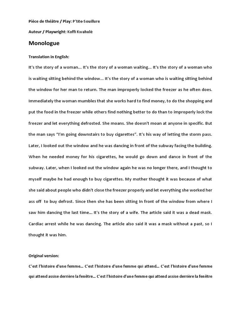 Qu Est Ce Qu Un Monologue : monologue, French, Monologue, P'tite, Souillure.pdf