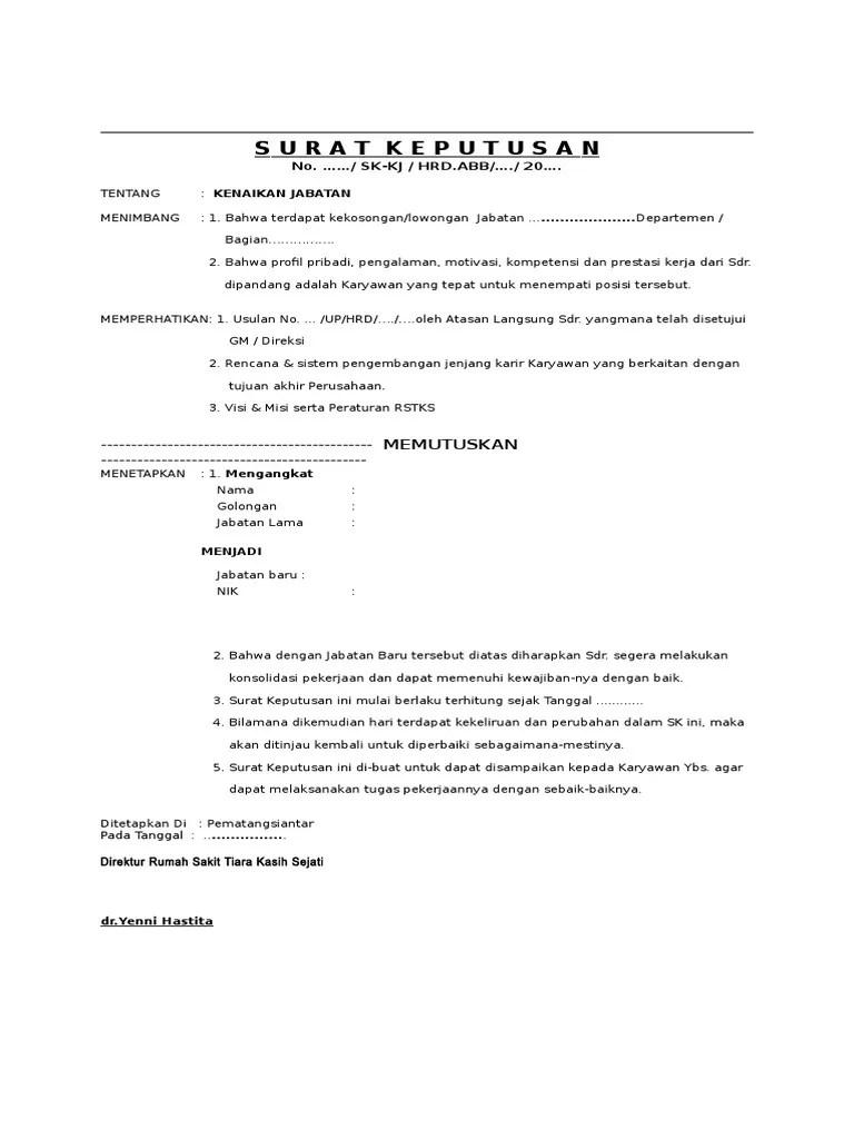 Surat Pengangkatan Jabatan : surat, pengangkatan, jabatan, 256973075-Sk-Pengangkatan-Jabatan.doc
