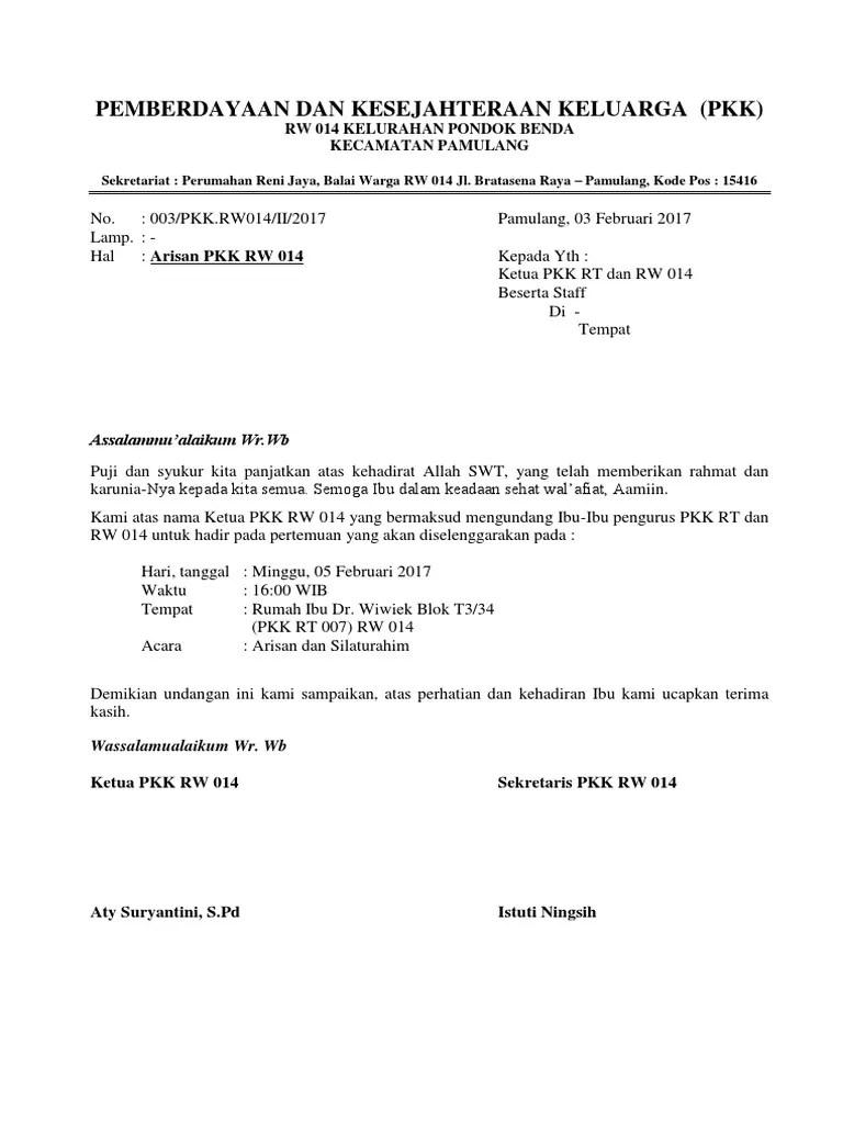 Contoh Undangan Rt : contoh, undangan, Contoh, Surat, Undangan, Arisan