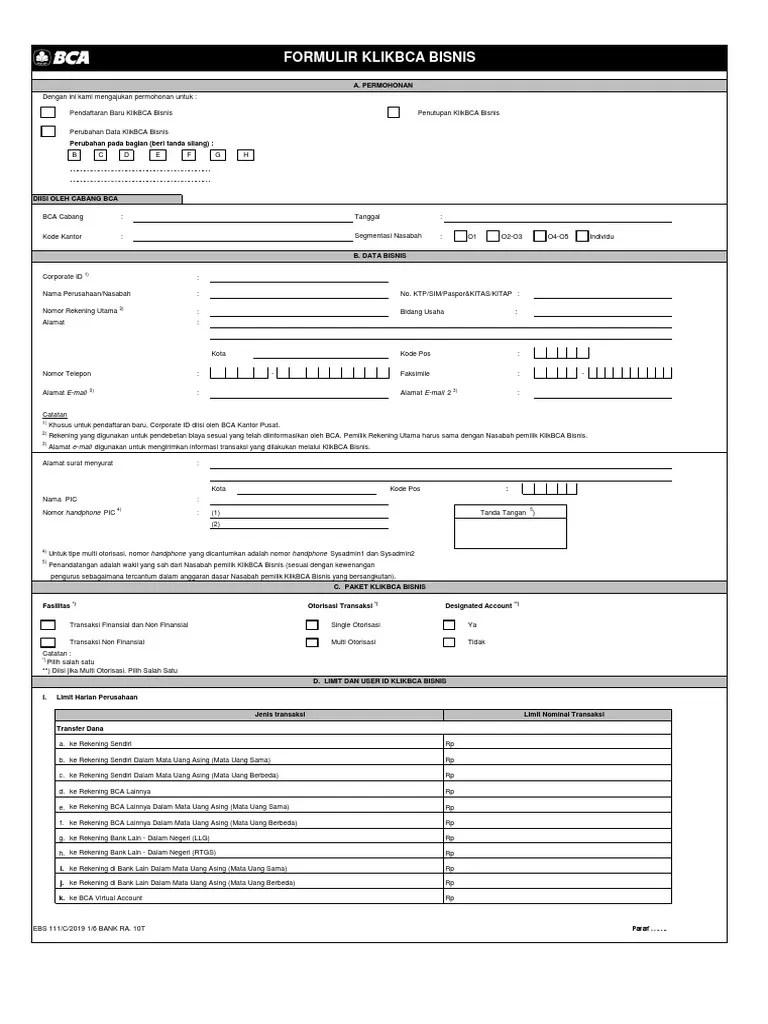 Klik Bca Bisnis : bisnis, Formulir, KlikBCA, Bisnis-terbaru