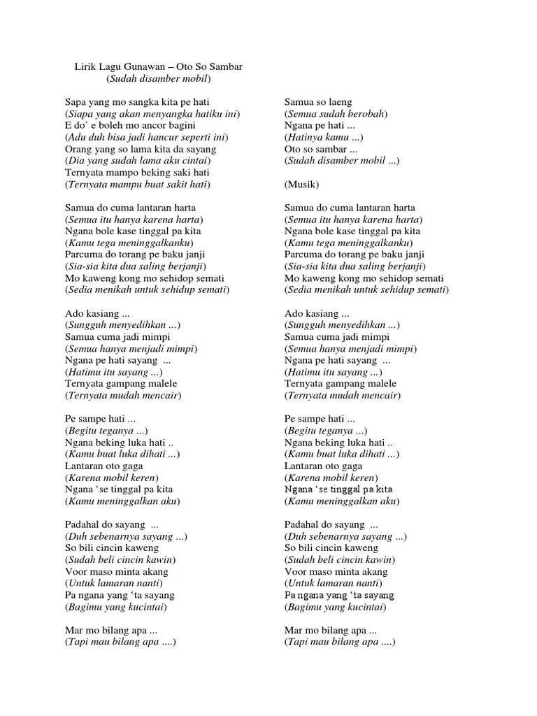 Cincin Kaweng Lirik : cincin, kaweng, lirik, Lirik, Gunawan, Sambar, (Lagu, Manado)