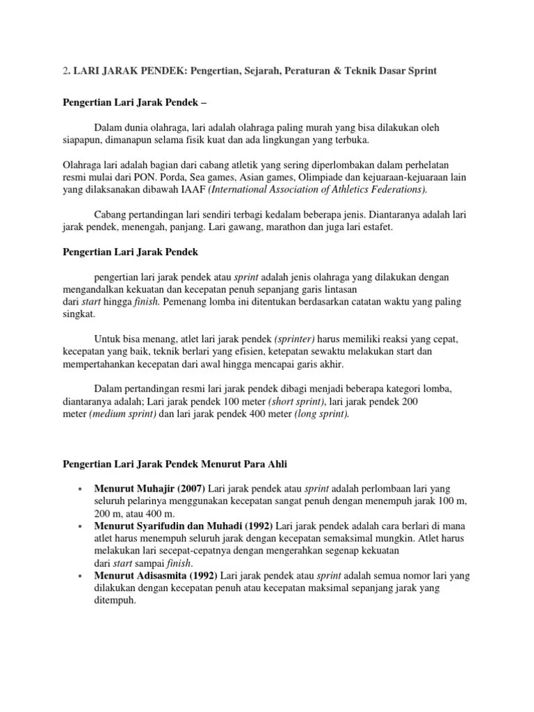 Peraturan Lari Jarak Menengah : peraturan, jarak, menengah, Materi, Jarak, Pendek