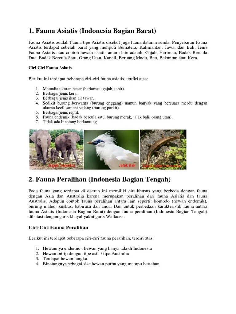 Hewan Asiatis - Ciri ciri terlengkap beserta penjelasannya