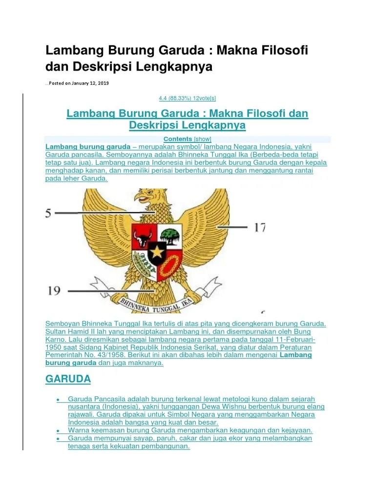 Filosofi Perisai : filosofi, perisai, Lambang, Burung, Garuda