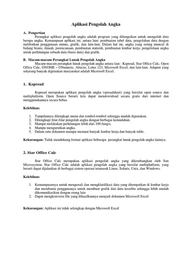 Pengertian Kspread : pengertian, kspread, Aplikasi, Pengolah, Angka.docx