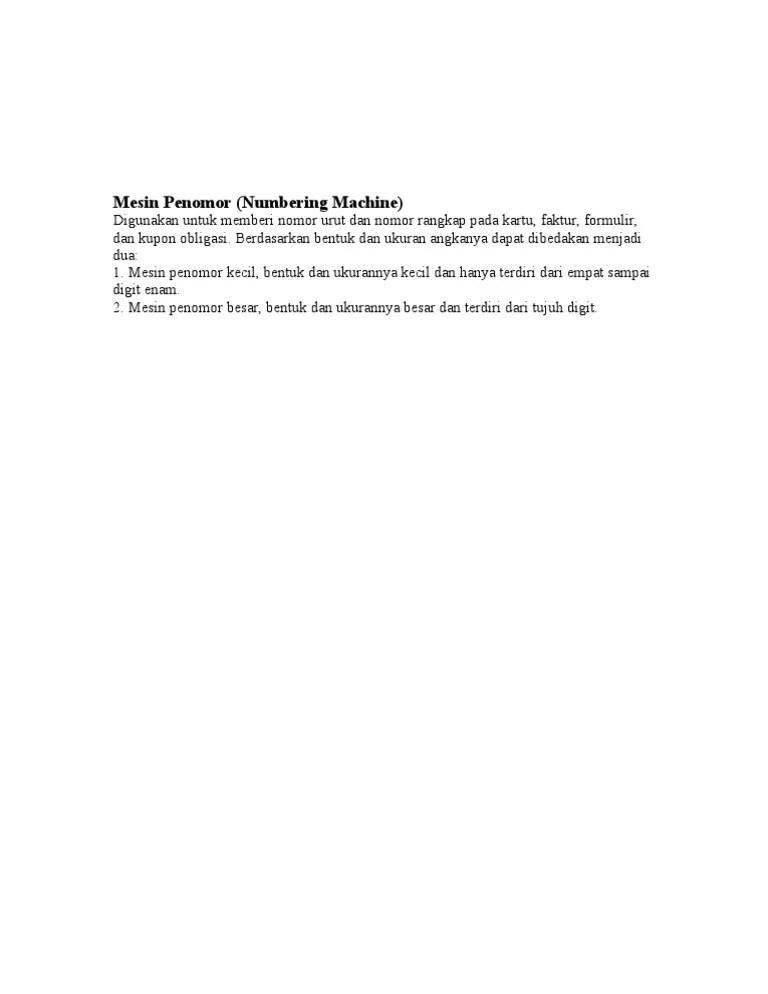 Fungsi Mesin Penomor : fungsi, mesin, penomor, Mesin, Penomor