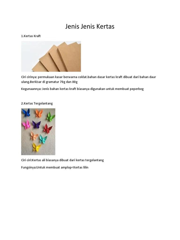Jenis Jenis Kertas Dan Kegunaannya : jenis, kertas, kegunaannya, Jenis, Kertas