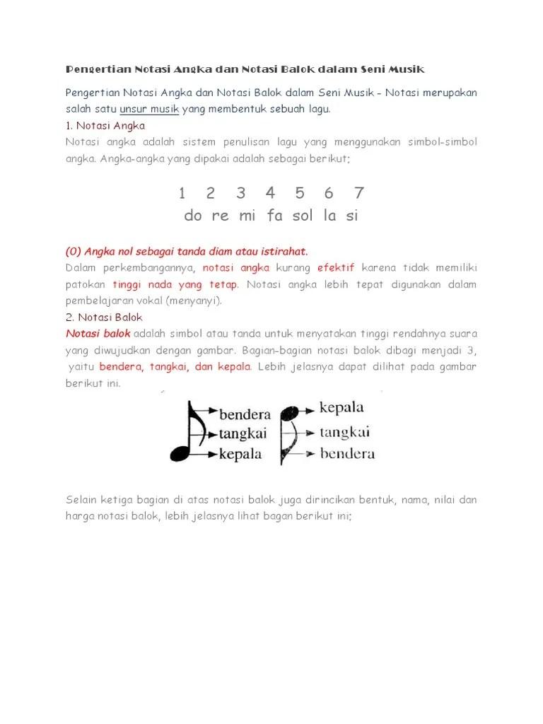 Pengertian Notasi Musik : pengertian, notasi, musik, Pengertian, Notasi, Angka, Balok, Dalam, Musik.docx