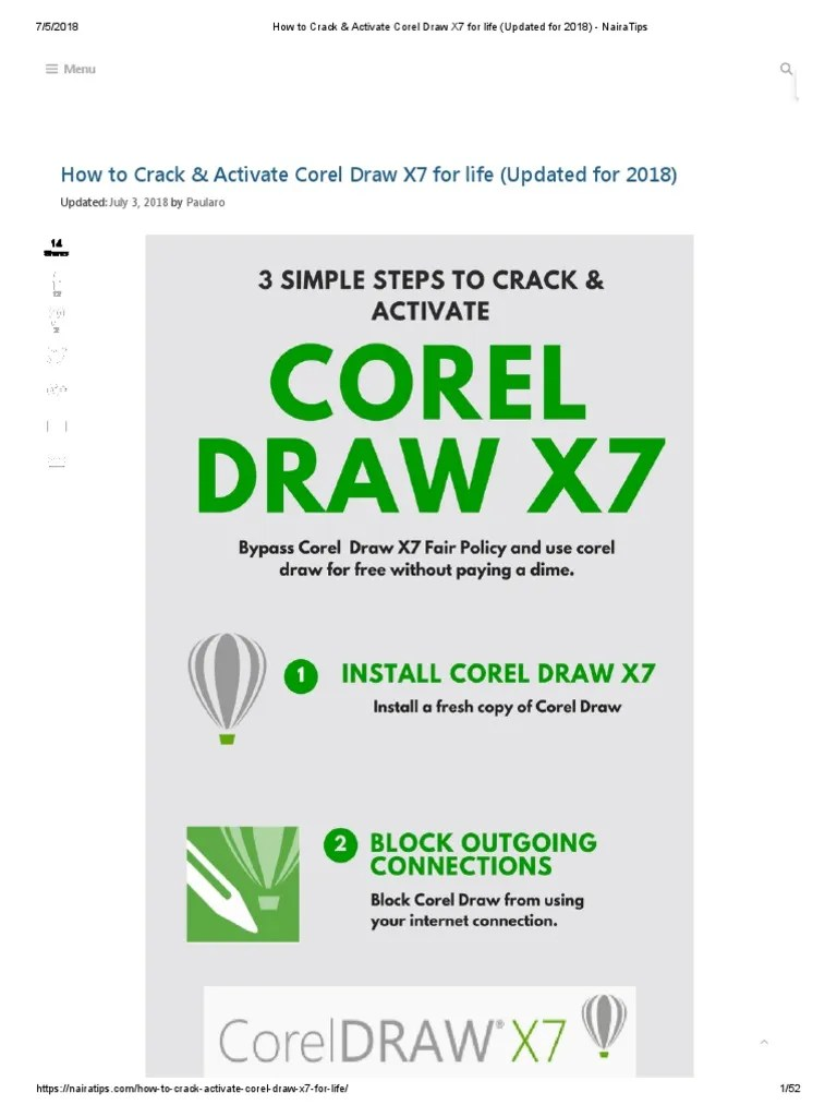 Error 38 Corel Draw X7 : error, corel, Crack, Activate, Corel, (Updated, 2018), NairaTips.pdf, Microsoft, Windows, Computing, Platforms