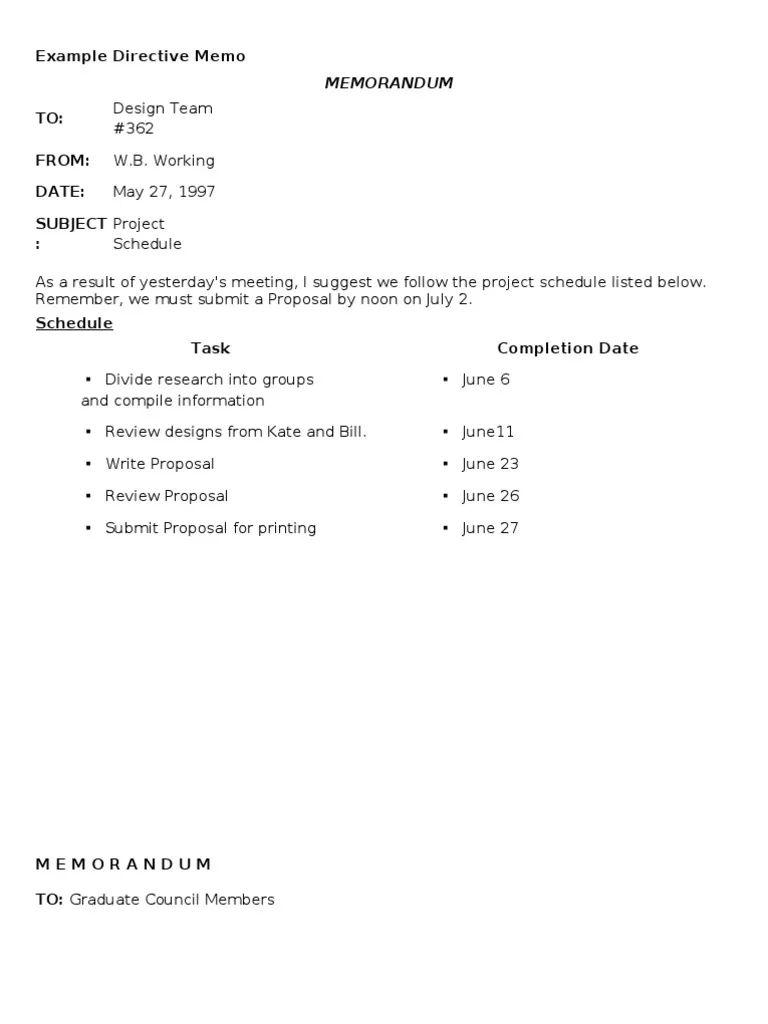 memo sample format