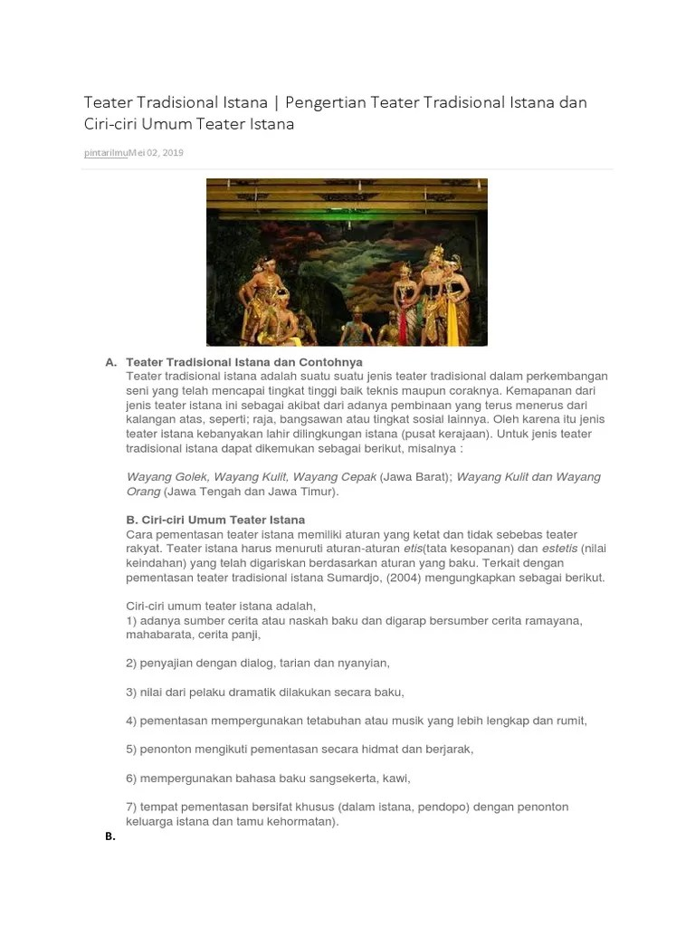 Ciri Teater Rakyat : teater, rakyat, Teater, Tradisional, Istana