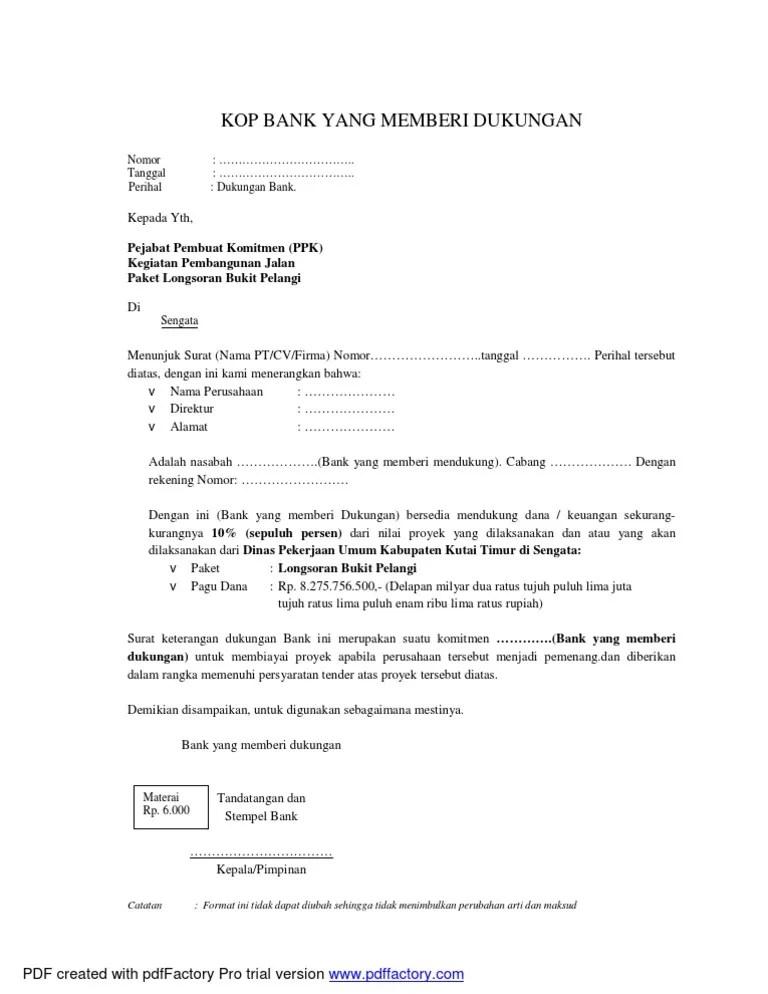 Surat Dukungan Bank : surat, dukungan, Format, Dukungan