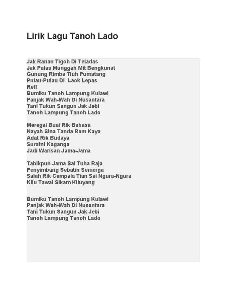 Download Lagu Lampung Tanoh Lado : download, lampung, tanoh, Lirik, Tanoh