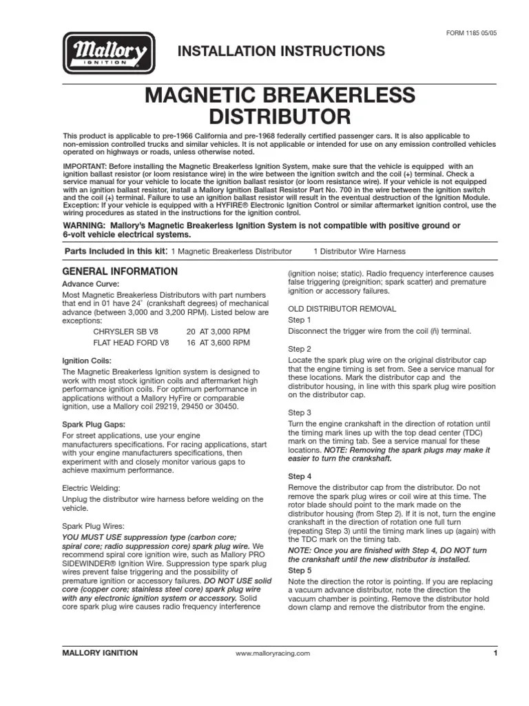 medium resolution of mallory magnetic breakerles wiring diagram