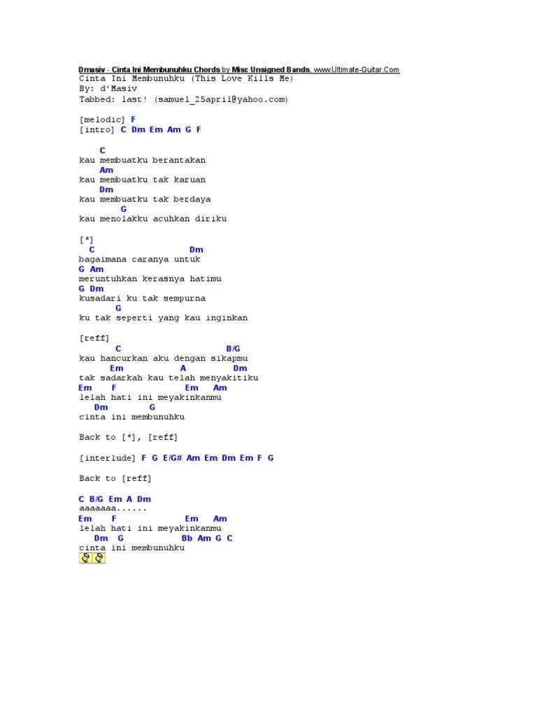 Cinta Ini Membunuhku Chord : cinta, membunuhku, chord, Dmasiv, Cinta, Membunuhku, Chords, Unsigned, Bands