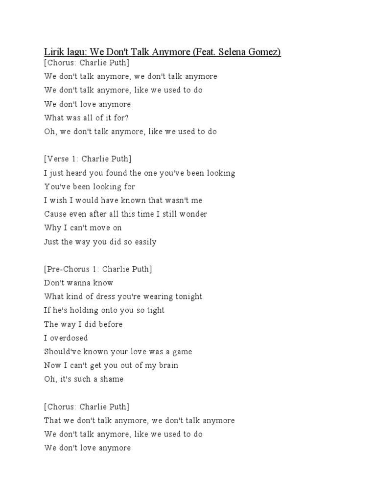 We Dont Talk Anymore Lirik : anymore, lirik, Lirik, Don't, Anymore, Singles, Structure