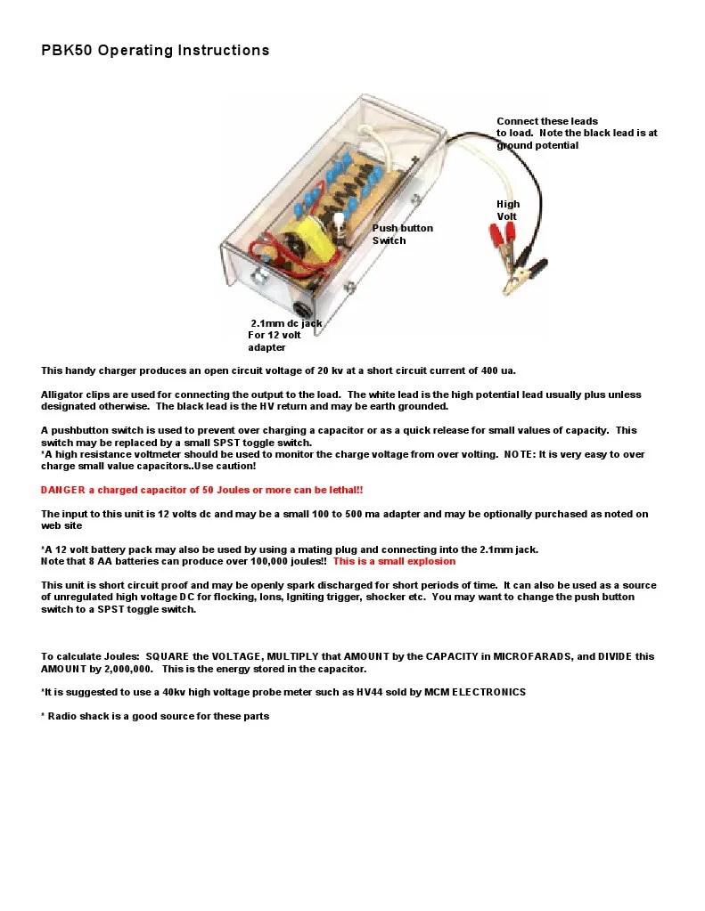 Pbk50 Operating Instructions Danger A Charged Capacitor Of
