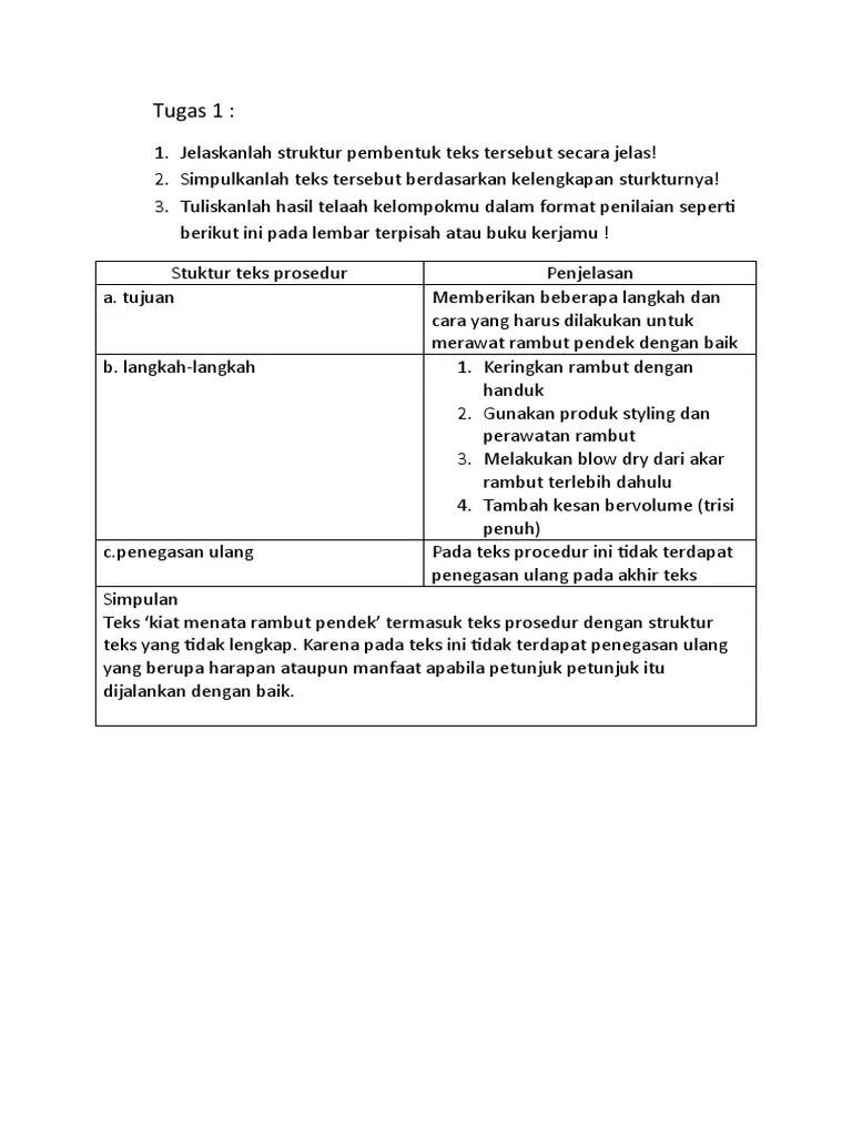 Struktur Teks Prosedur Kiat Menata Rambut Pendek : struktur, prosedur, menata, rambut, pendek, Bindo