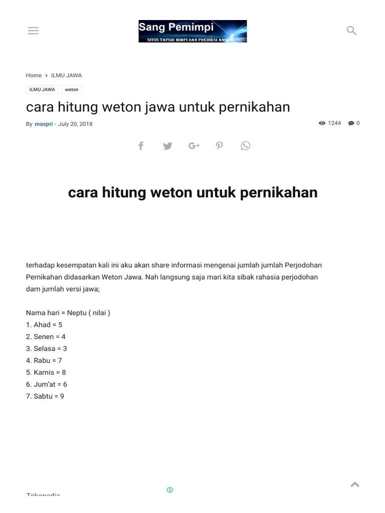 Cara Menghitung Weton Sebelum Menikah : menghitung, weton, sebelum, menikah, Hitung, Weton, Untuk, Pernikahan, Pemimpi