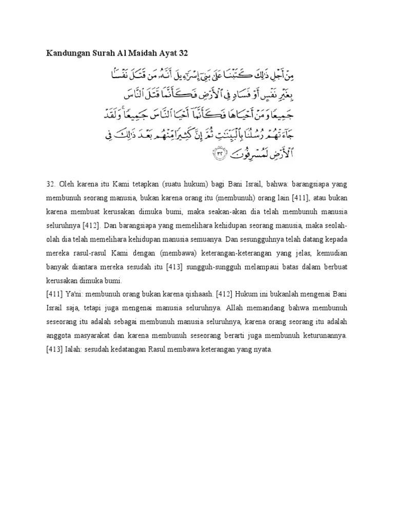 Kandungan Al Maidah Ayat 32 : kandungan, maidah, Kandungan, Surah, Maidah