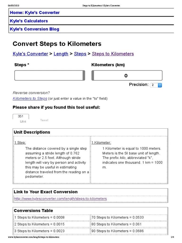 Steps To Meters : steps, meters, Steps, Kilometers, Kyle's, Converter, Kilometre, Metre