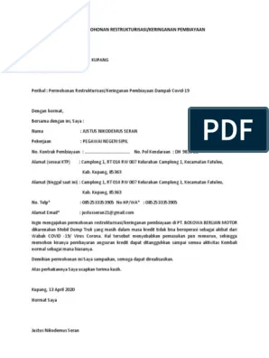 Contoh Surat Permohonan Restrukturisasi Kredit : contoh, surat, permohonan, restrukturisasi, kredit, Contoh, Surat, Permohonan, Restrukturisasi, Penangguhan, Kredit