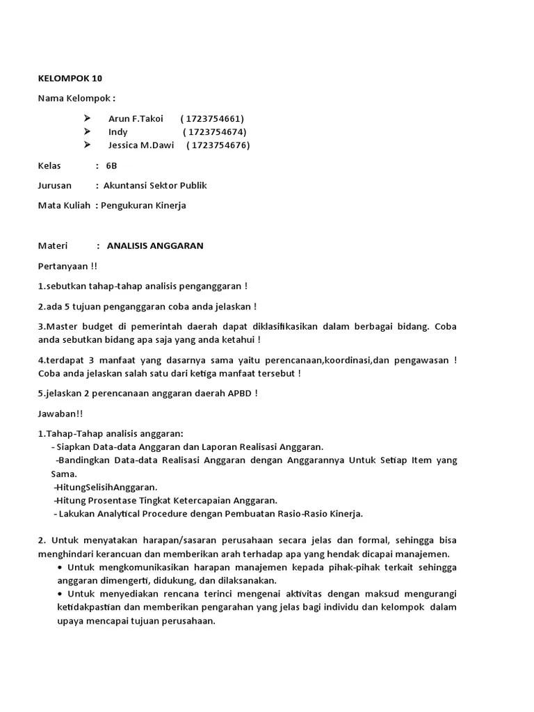 Sebutkan Bidang Bidang Akuntansi : sebutkan, bidang, akuntansi, KELOMPOK, 10_Materi, Analisis, Anggaran.docx