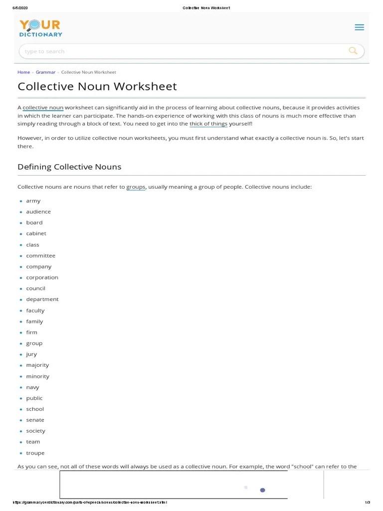 Collective Noun Worksheet: De ning Collective Nouns   Noun   Worksheet [ 1024 x 768 Pixel ]