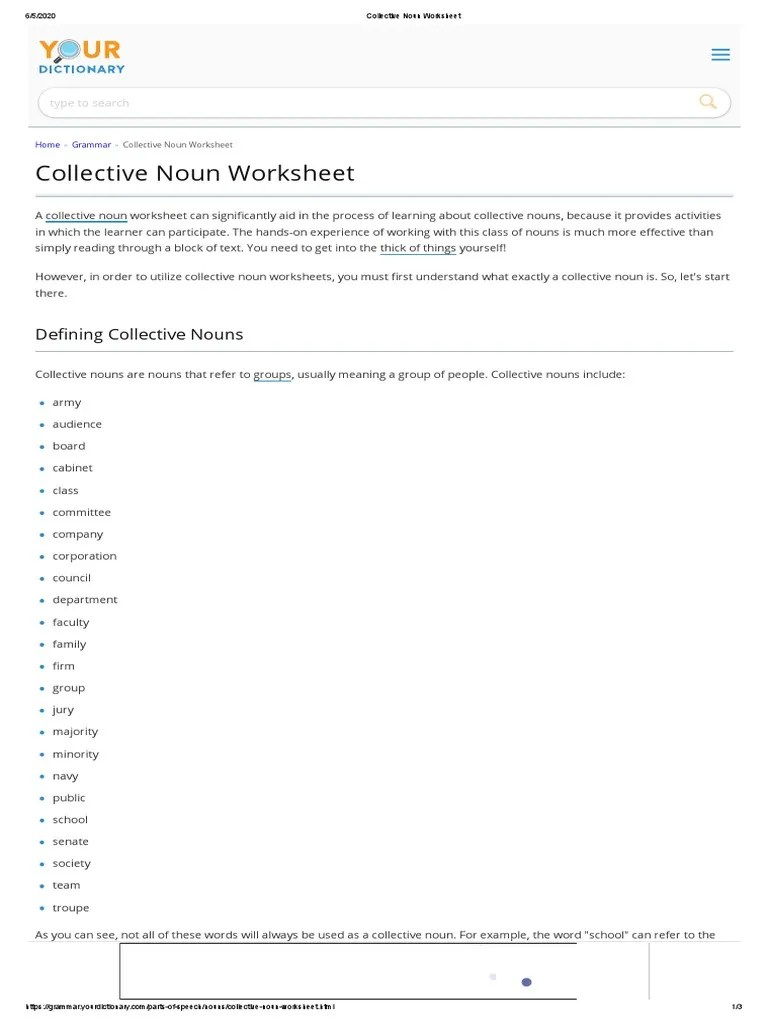 small resolution of Collective Noun Worksheet: De ning Collective Nouns   Noun   Worksheet