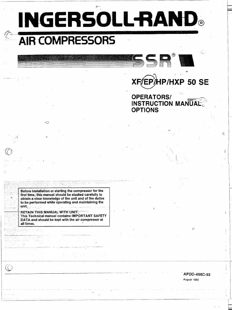 small resolution of ingersoll rand ssr instruction manual xf ep hp hpx 50 se taylor wiring diagram ingersoll rand ssr wiring diagram