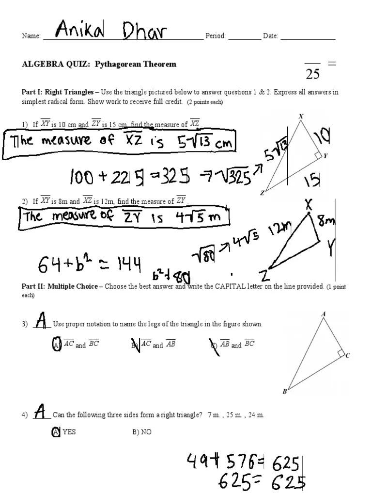 small resolution of ALGEBRA QUIZ: Pythagorean Theorem: XY ZY XZ   Area   Triangle