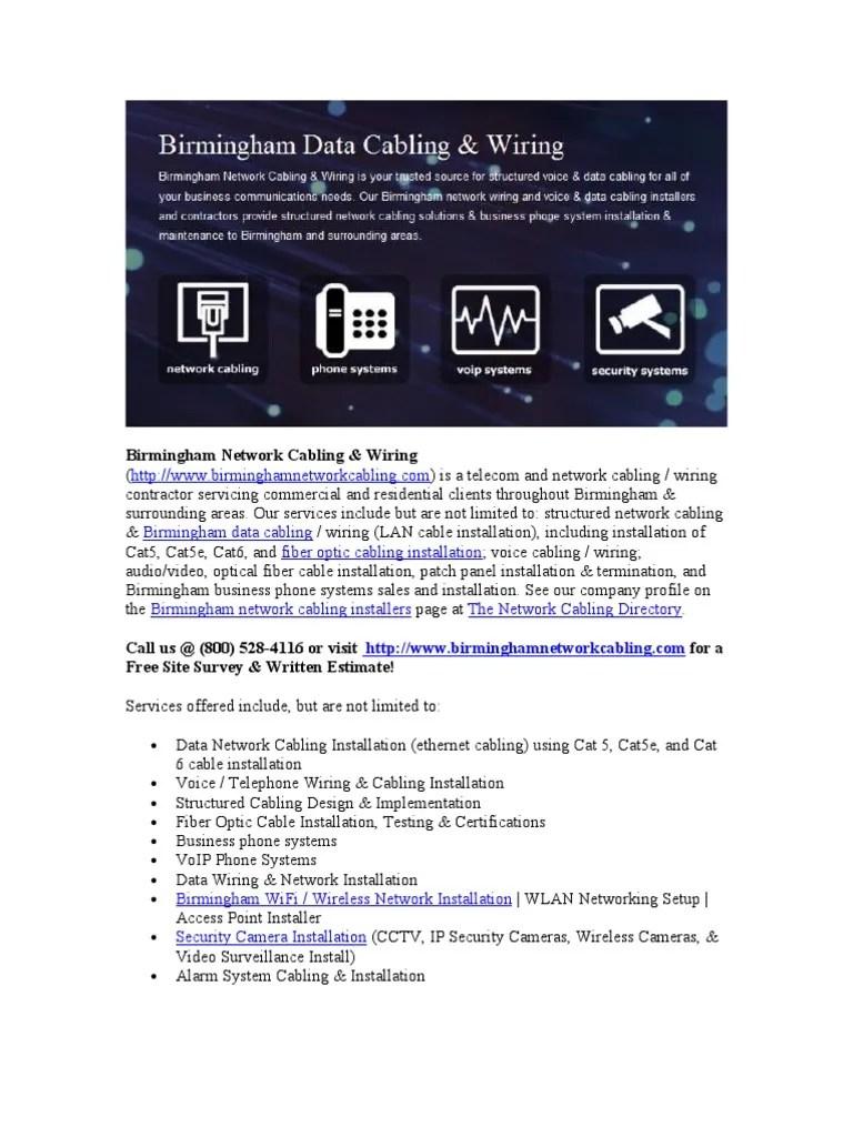 medium resolution of birmingham network cabling fiber optic services wireless lan closed circuit television