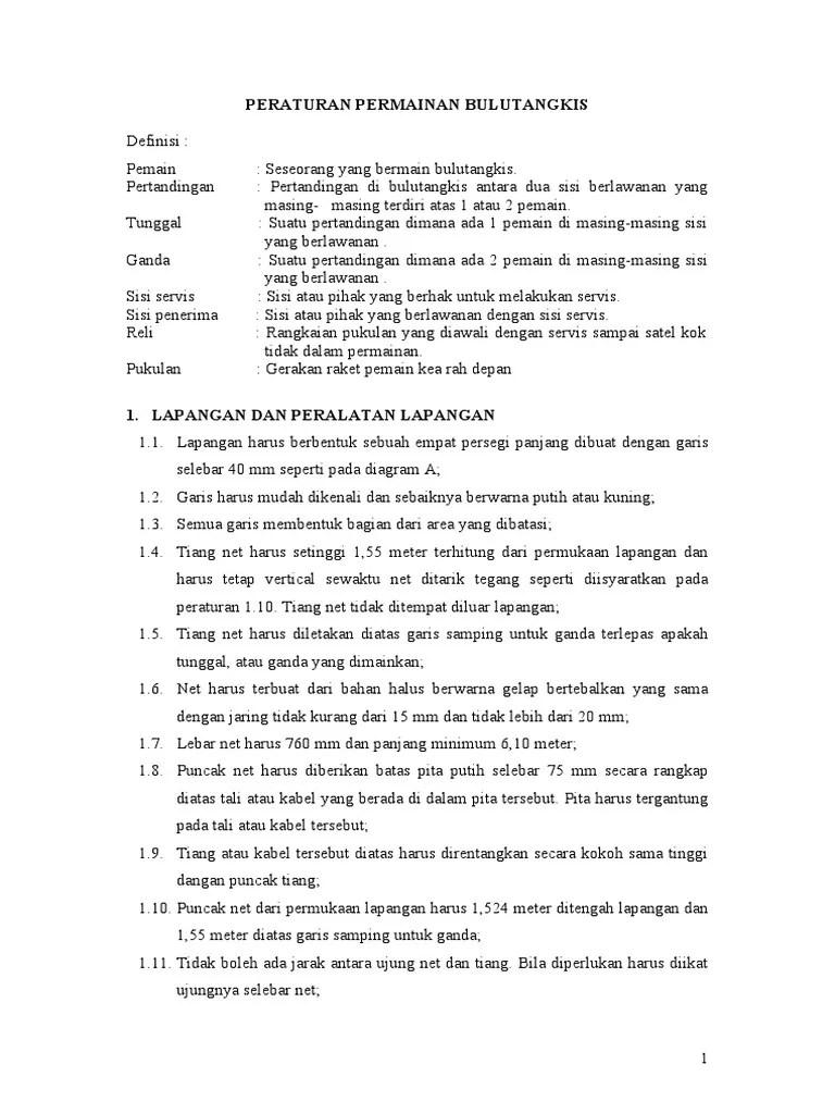 Peraturan Permainan Bulu Tangkis : peraturan, permainan, tangkis, PERATURAN, PERMAINAN, BULUTANGKIS, Ina.doc