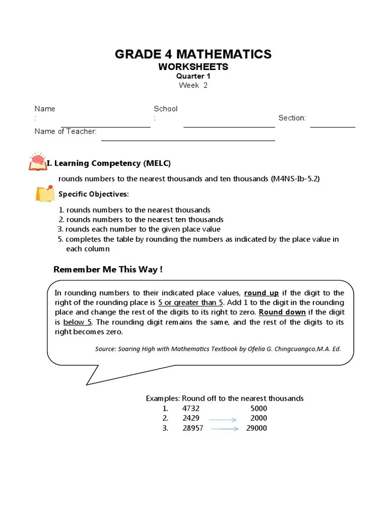 hight resolution of Worksheets-Grade-4-Quarter-1-Week2-LC1.docx   Educational Psychology    Teaching Mathematics