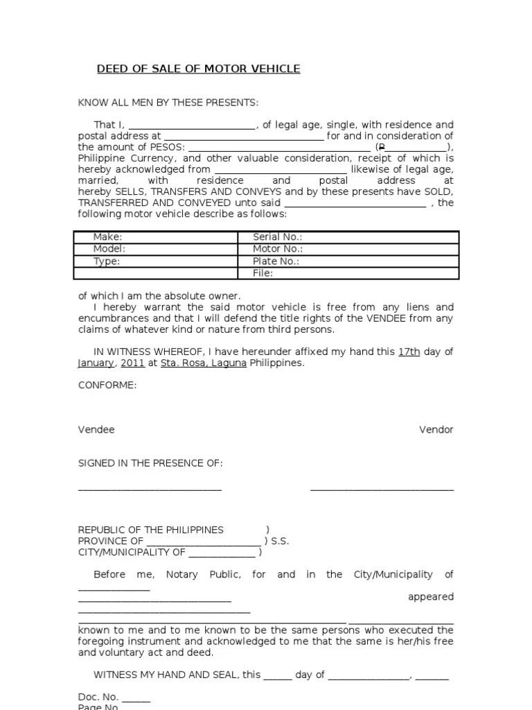 deed of sale motor vehicle
