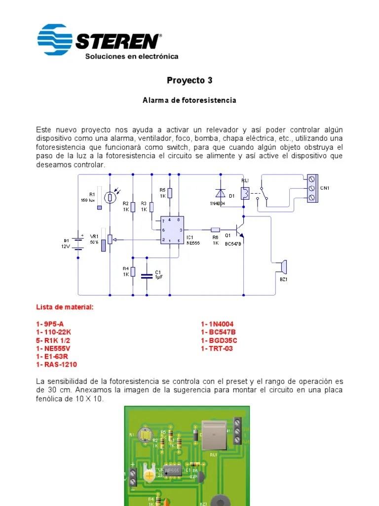 Circuito De Sensor De Luz Com Ldr Te1