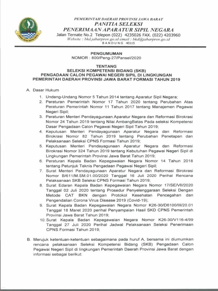 Cpns Pemprov Jawa Barat : pemprov, barat, Pengumuman, Provinsi, Barat, Informasi, CPNS/ASN, IndonesiaInfo, CPNS-ASN, Indonesia