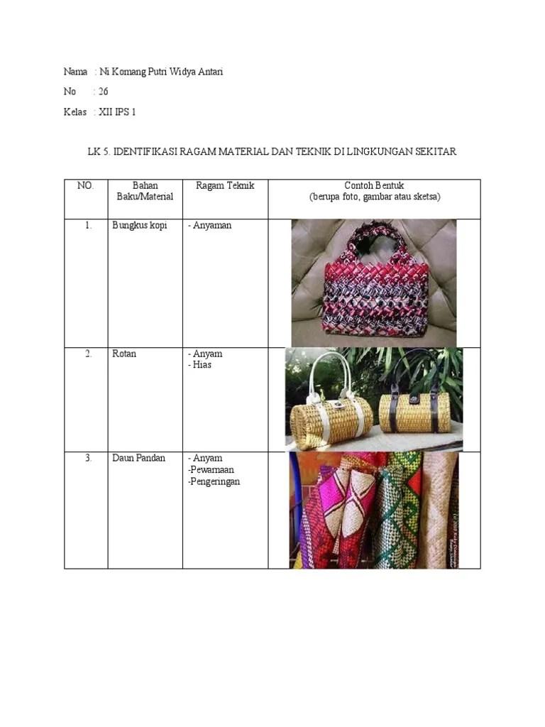 Identifikasi Ragam Material Dan Teknik Di Lingkungan Sekitar : identifikasi, ragam, material, teknik, lingkungan, sekitar, Prakarya, Widya