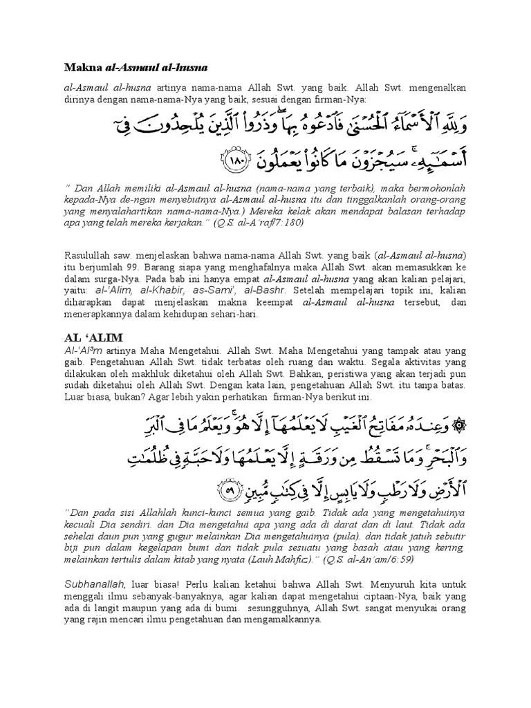 Al Khabir Artinya : khabir, artinya, Makna, Al-Asmaul, Al-husna