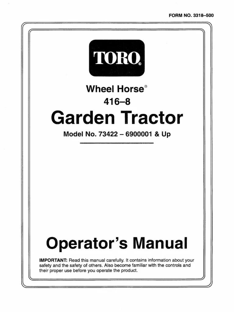 Toro Wheel Horse 416-8 Operators Manual
