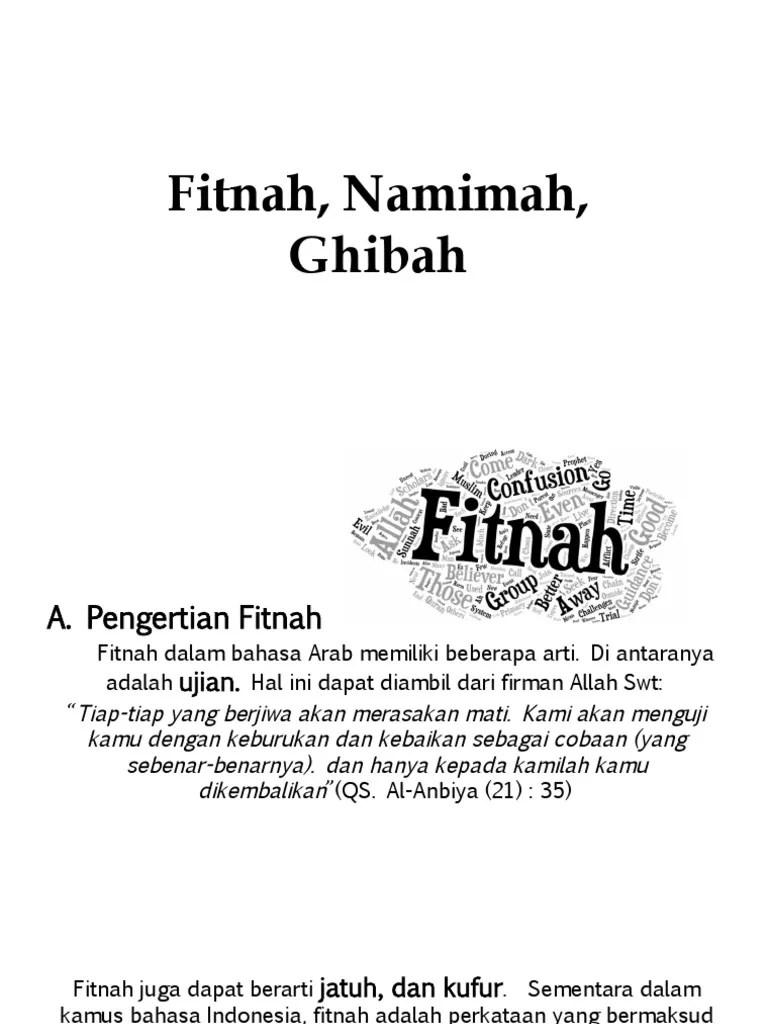 Arti Kata Ghibah : ghibah, Fitnah,, Namimah,, Ghibah