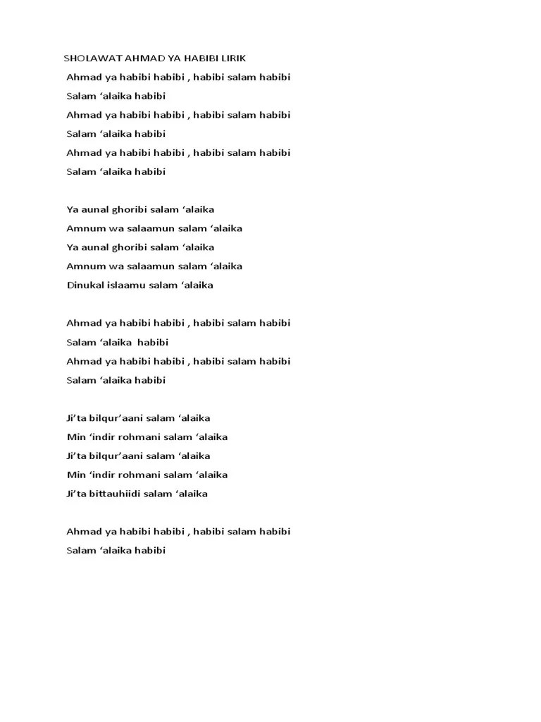 Lagu Sholawat Ahmad Ya Habibi : sholawat, ahmad, habibi, SHOLAWAT, AHMAD, HABIBI, LIRIK.docx