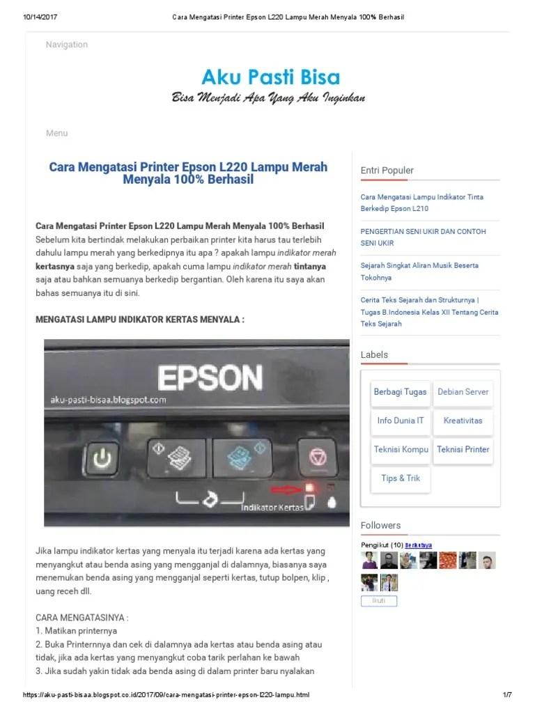 Printer Epson L120 Lampu Tinta Dan Kertas Berkedip Bersamaan : printer, epson, lampu, tinta, kertas, berkedip, bersamaan, Mengatasi, Printer, Epson, Lampu, Merah, Menyala, Berhasil