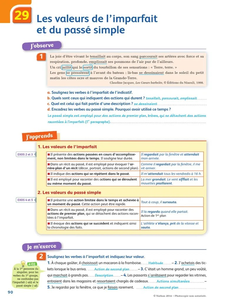Les Valeurs De L'imparfait : valeurs, l'imparfait, Chap29valeursimparfaitpassesimple, Syntaxe, Morphologie