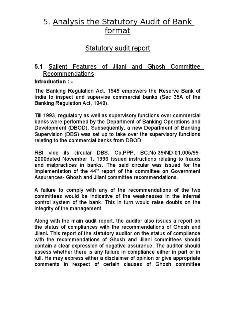 Analysis the Statutory Audit of Bank format | Auditor's Report | Audit