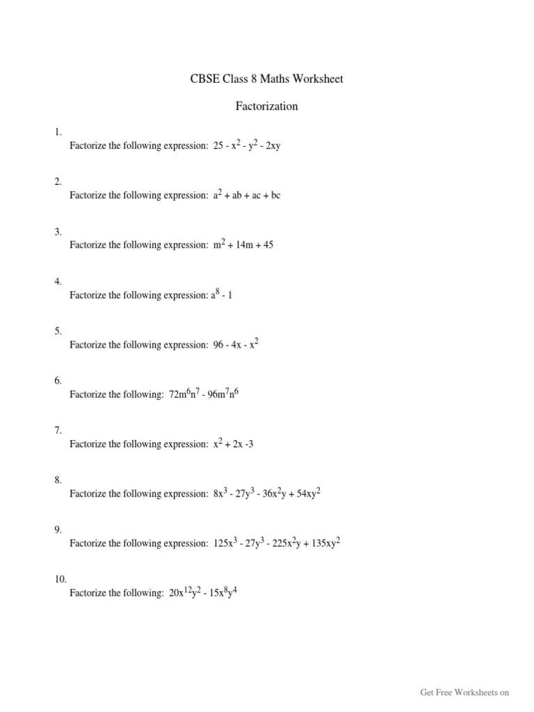 Factorization-CBSE-Class-8-Worksheet   Sports [ 1024 x 768 Pixel ]