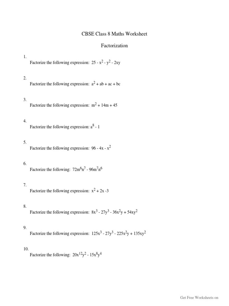 medium resolution of Factorization-CBSE-Class-8-Worksheet   Sports