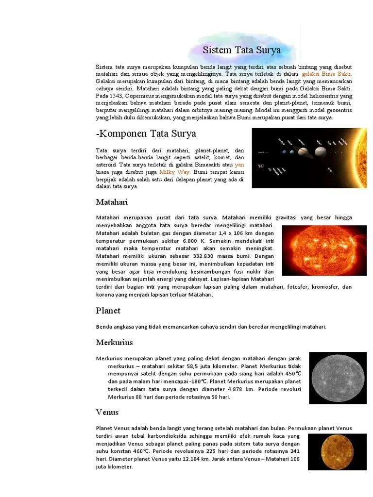 Jarak Dari Matahari Dalam Juta Kilometer : jarak, matahari, dalam, kilometer, Sistem, Surya