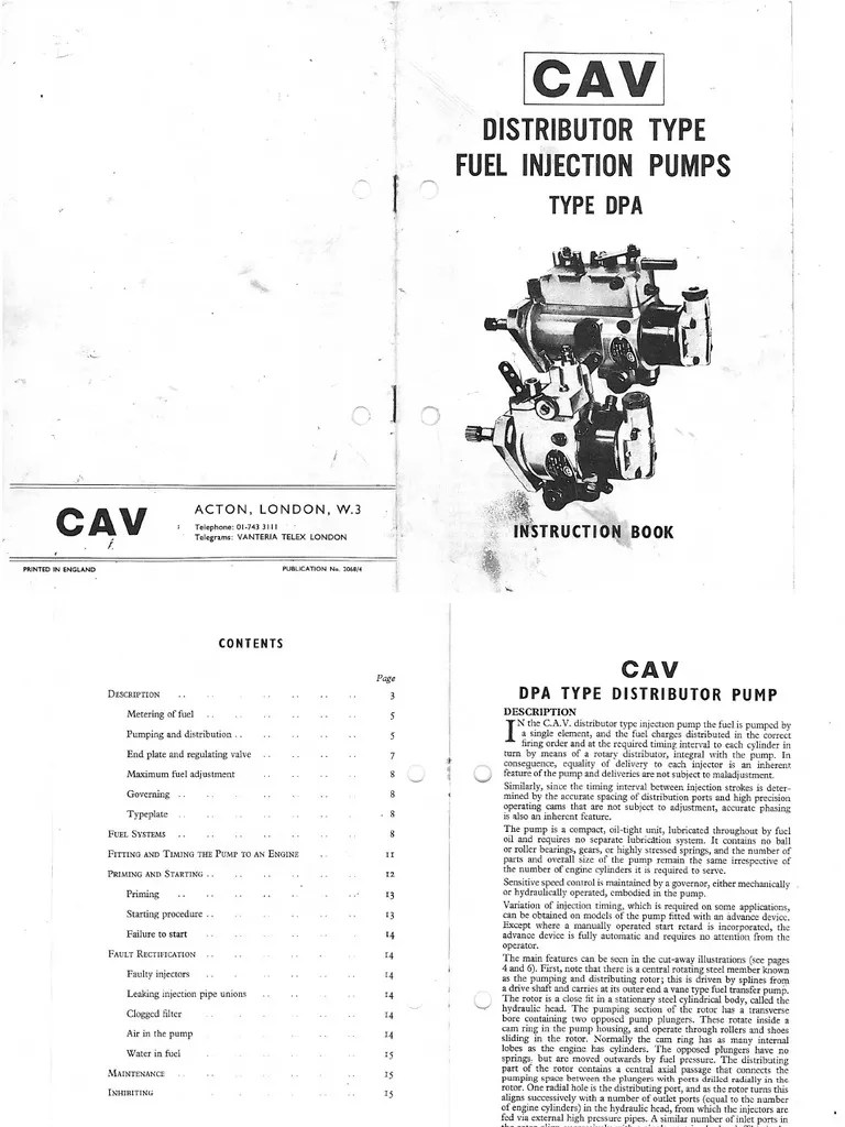 Lucas CAV DPA Injection Pump Instruction Book